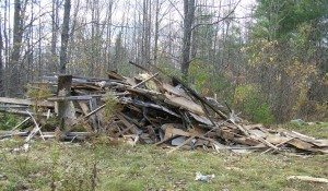debris from the old trailer