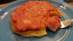 Rhubarb sauce on hot pancakes!